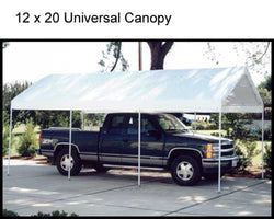 "King Canopy A-Frame Universal Canopy - 12' x 20' x 9'9"" - 8 Legs -  Fitted Cover w/ Drawstring - White"