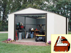 "Arrow Murrayhill, 12x17, Vinyl Coated Steel, Coffee / Almond, High Gable, 73.8"" Wall Height, Roll-up Garage Door"