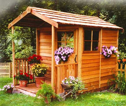 Gable Porch Cedar Wood Clubhouse - 6 Sizes Available