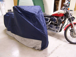 "Rhino Large Motorcycle Cover 49""x90""x58"" Blue Top/Silver Bottom"