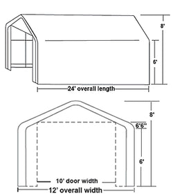 Rhino 12x24x8 Storage Building Shelter