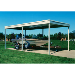 Arrow Freestanding Carport/Patio Cover, 10x20, Hot Dipped Galvanized Steel with Vinyl Coating, Eggshell Finish, Flat Roof
