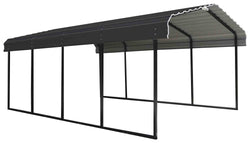 Arrow Carport 12x29x7, 29 Gauge Galvanized Steel Roof Panels, 2 in.Square Tube Frame, Charcoal Finish
