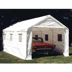 "King Canopy A-Frame Universal Canopy - 10' x 20' x 9'9"" - 8 Legs -  Fitted Cover w/ Drawstring - Sidewall Kit w/ Windows - White"