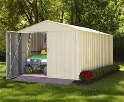 "Arrow Commander, 10x20, Hot Dipped Galvanized Steel, Eggshell, High Gable, 71.3"" Wall Height, Extra Wide Swing Doors"