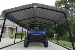 Arrow Carport 12x24x7, 29 Gauge Galvanized Steel Roof Panels, 2 in.Square Tube Frame