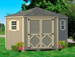Classic Five-Corner 10x10 Wood Shed Kit