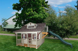 Little Cottage Craftsman Playhouse with slide Panelized Kit w/floor