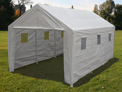 "King Canopy A-Frame Hercules Canopy (1.5'' purlins) - Snow Load Kit - 10' x 20' x 9'9""- 8 Legs - 180g/m2 Fitted Cover w/ Drawstring - Sidewalls with Windows - White"