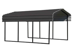 Arrow Carport 10x29x7, 29 Gauge Galvanized Steel Roof Panels, 2 in.Square Tube Frame, Charcoal Finish