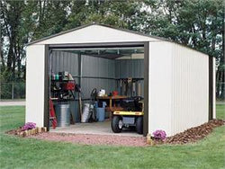 "Arrow Murrayhill, 12x24, Vinyl Coated Steel, Coffee / Almond, High Gable, 73.8"" Wall Height, Roll-up Garage Door"