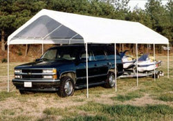 "King Canopy A-Frame Universal Canopy - 10' x 27' x 9'9"" - 10 Legs--Fitted Cover w/ Drawstring - White"
