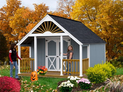 Beautiful 12' Wood Garden Storage Shed with Porch Kit - 2 Sizes