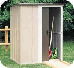 "Arrow Brentwood Shed, 5x4, Electro Galvanized Steel, Coffee / Taupe / Eggshell, Lean-to Roof, 67"" Wall Height, Sliding Door"