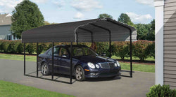 Arrow Carport 10x20x7, 29 Gauge Galvanized Steel Roof Panels, 2 in.Square Tube Frame, Charcoal Finish