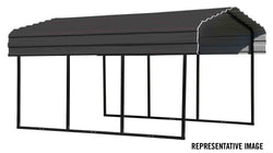 Arrow Carport 10x24x7, 29 Gauge Galvanized Steel Roof Panels, 2 in.Square Tube Frame, Charcoal Finish