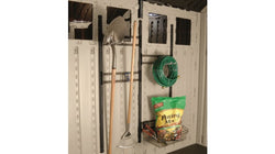 Storage Shed Wall Hooks and Basket Accessory