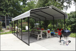 Arrow Carport 12x20x7, 29 Gauge Galvanized Steel Roof Panels, 2 in.Square Tube Frame