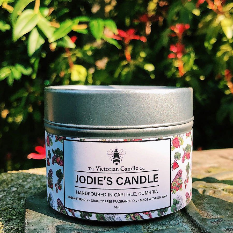 A personalised candle, hand made in the UK