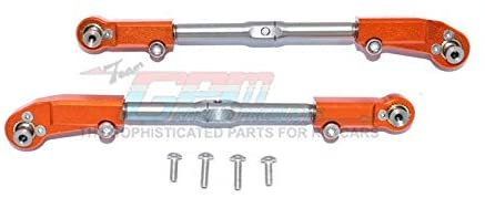 Aluminum + Stainless Steel Adjustable Front Steering Tie Rod - 2Pc Set Orange-RC CAR PARTS-Mike's Hobby