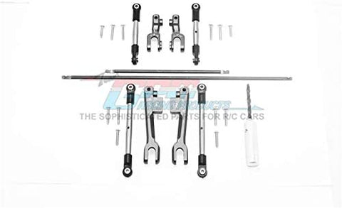 Spring Steel Front + Rear Sway Bar & Aluminum Sway Bar Arm & Stainless Steel Linkage - 23Pc Set Gray Silver-RC CAR PARTS-Mike's Hobby