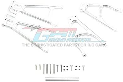 Aluminum Rear Suspension Arm Set (Upper+Lower) - 4Pc Set Silver-Mike's Hobby