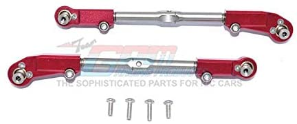 Aluminum + Stainless Steel Adjustable Front Steering Tie Rod - 2Pc Set Red-RC CAR PARTS-Mike's Hobby