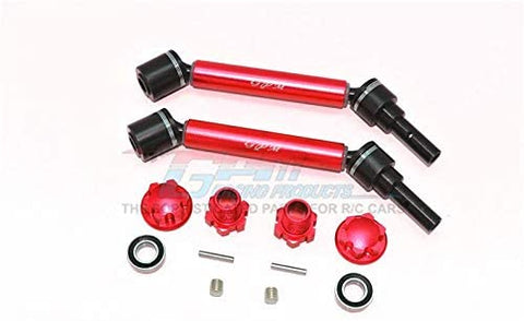 Harden Steel+Aluminum Front Or Rear Adjustable CVD Drive Shaft + Hex Adapter + Wheel Lock - 12Pc Set Red-RC CAR PARTS-Mike's Hobby
