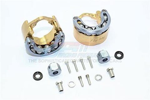 Brass Pendulum Wheel Knuckle Axle Weight with Alloy Lid + 9mm Hex Adapter - 1Pr Set Gray Silver-RC CAR PARTS-Mike's Hobby