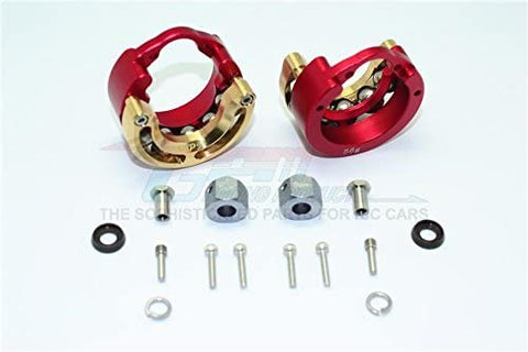 Aluminum Pendulum Wheel Knuckle Axle Weight with Brass Lid + 9mm Hex Adapter - 1Pr Set Red-RC CAR PARTS-Mike's Hobby