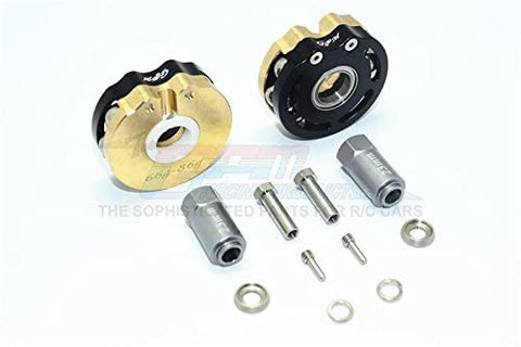 Brass Pendulum Wheel Knuckle Axle Weight with Alloy Lid + 23mm Hex Adapter - 1Pr Set Black-RC CAR PARTS-Mike's Hobby
