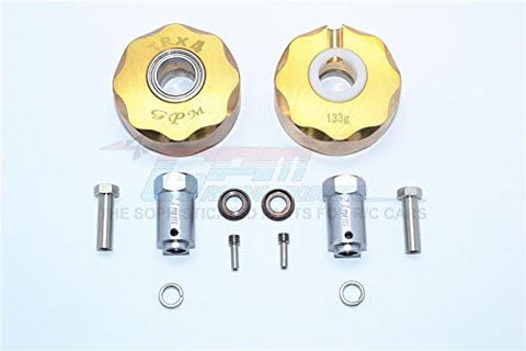 Brass Pendulum Wheel Knuckle Axle Weight + 21mm Hex Adapter - 1Pr Set Original Color-RC CAR PARTS-Mike's Hobby