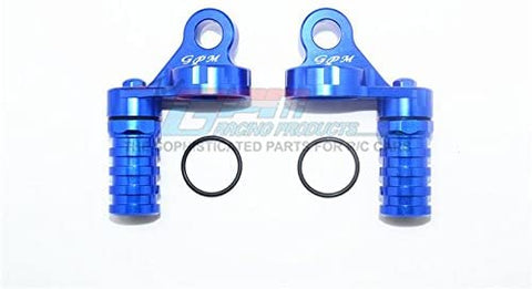Aluminum Damper Cap with Piggyback Reservoirs - 4Pc Set Blue-RC CAR PARTS-Mike's Hobby