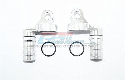 Aluminum Damper Cap with Piggyback Reservoirs - 4Pc Set Silver-RC CAR PARTS-Mike's Hobby