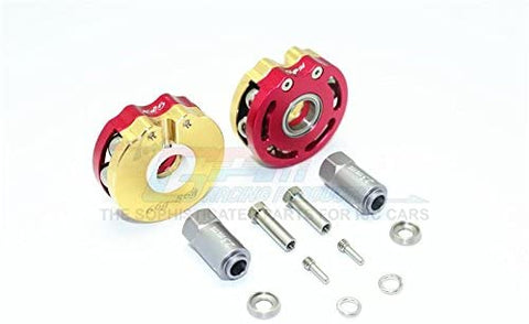 Brass Pendulum Wheel Knuckle Axle Weight with Alloy Lid + 23mm Hex Adapter - 1Pr Set Red-RC CAR PARTS-Mike's Hobby