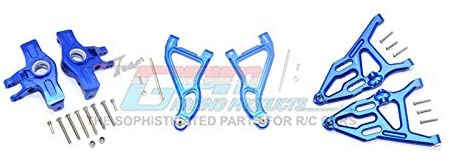 Aluminum Front Upper & Lower Arms + Knuckle Arms Set - 28Pc Set Blue-RC CAR PARTS-Mike's Hobby