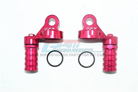 Aluminum Damper Cap with Piggyback Reservoirs - 4Pc Set Red-RC CAR PARTS-Mike's Hobby