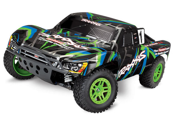 Traxxas Slash 4X4: 1/10 Scale 4WD Brushed Electric Short Course Truck RTR-Cars & Trucks-Green/Blue-Mike's Hobby