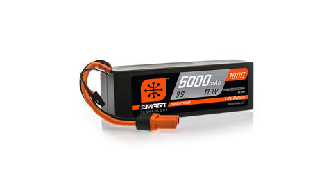 Spektrum 11.1V 5000mAh 3S 100C Smart Hardcase LiPo Battery: IC5 (SPMX50003S100H5)-LiPo Battery-Mike's Hobby