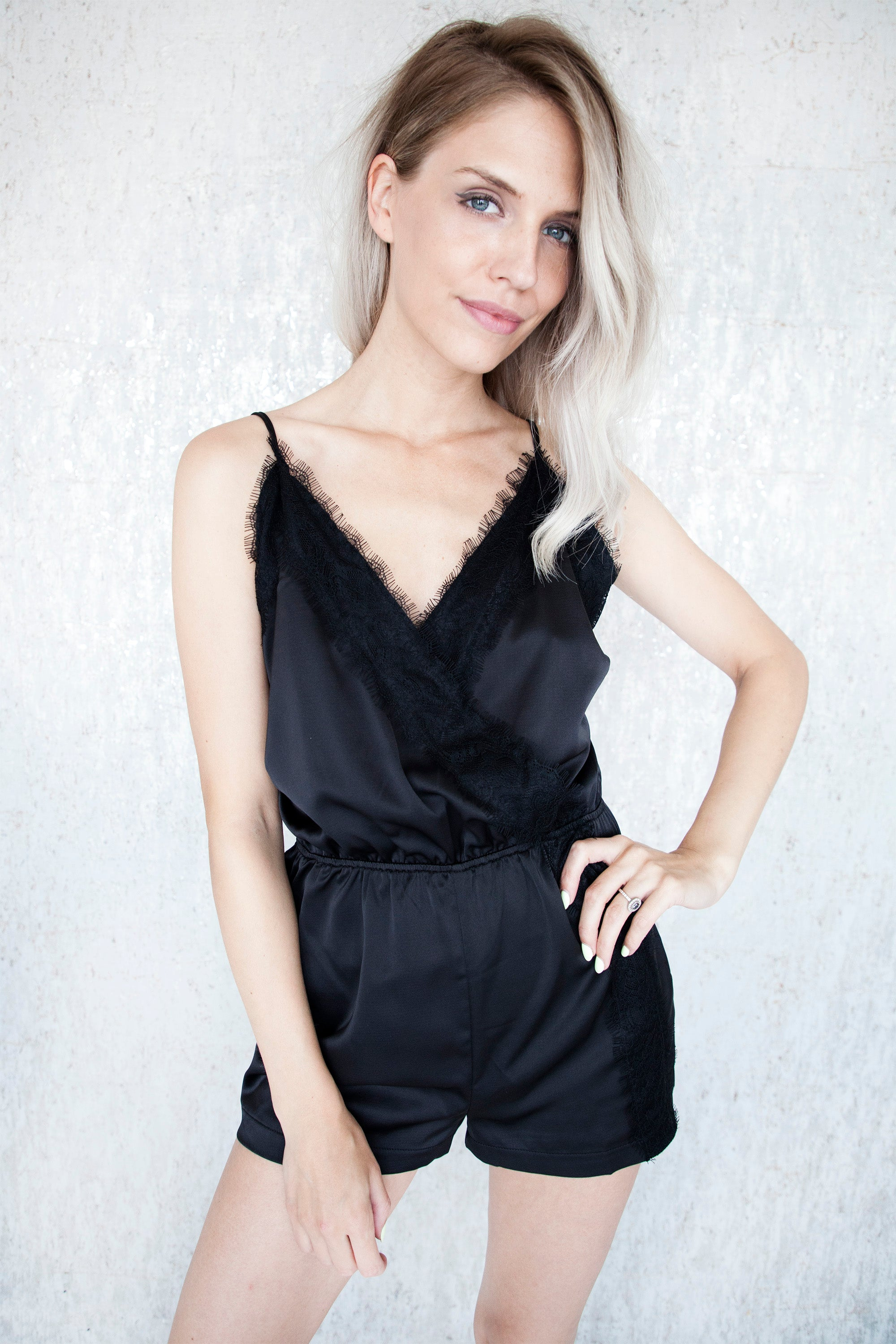 Lace & Satin Black - Playsuit