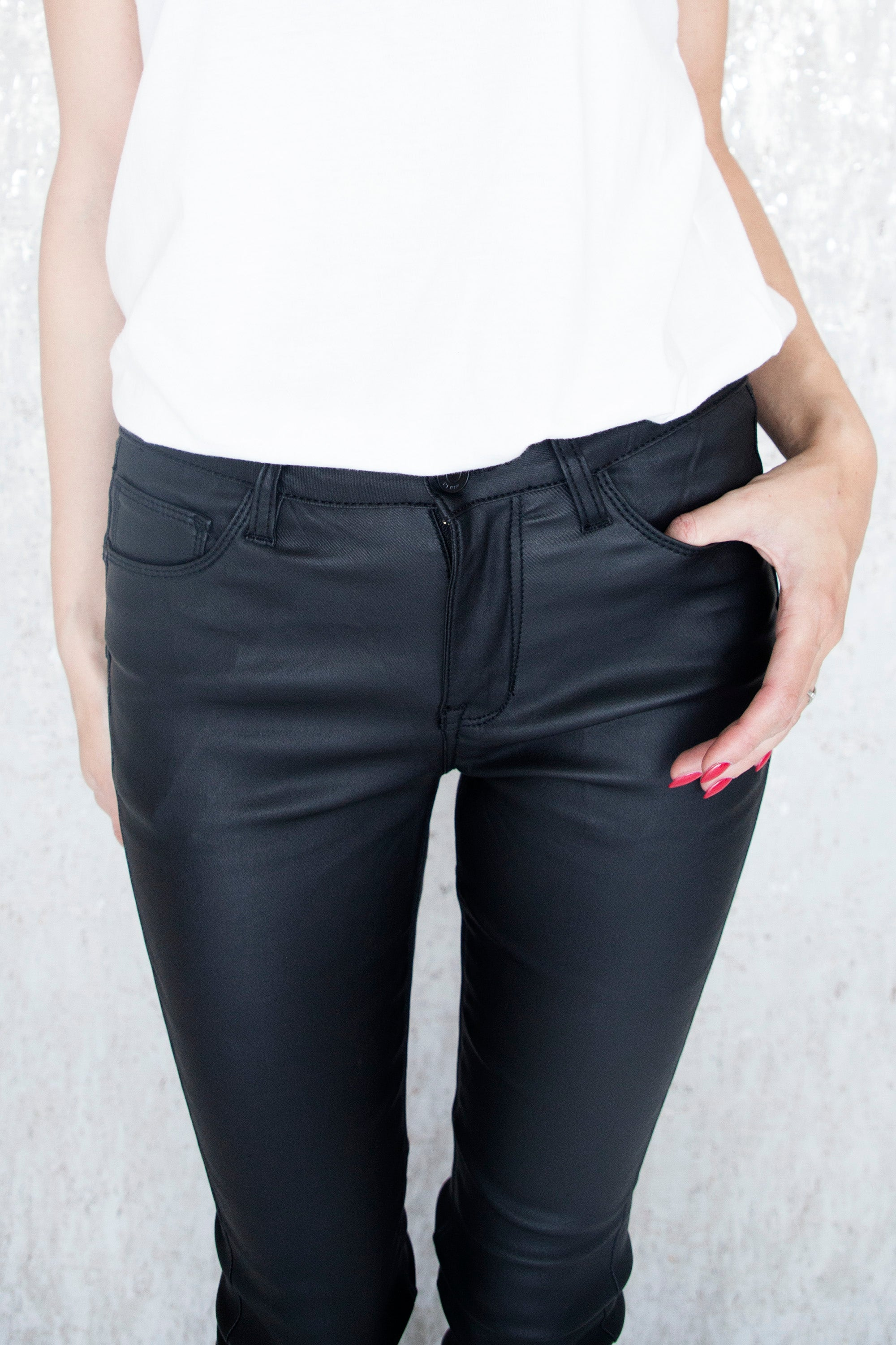Coated Push Up Black - Broek