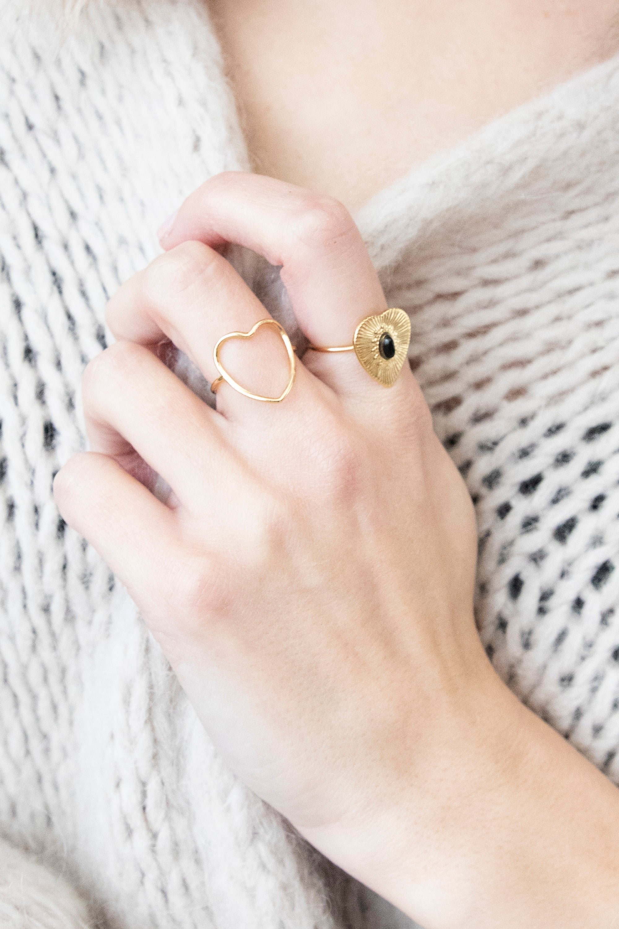 Lovestoned Black/Gold - Ring
