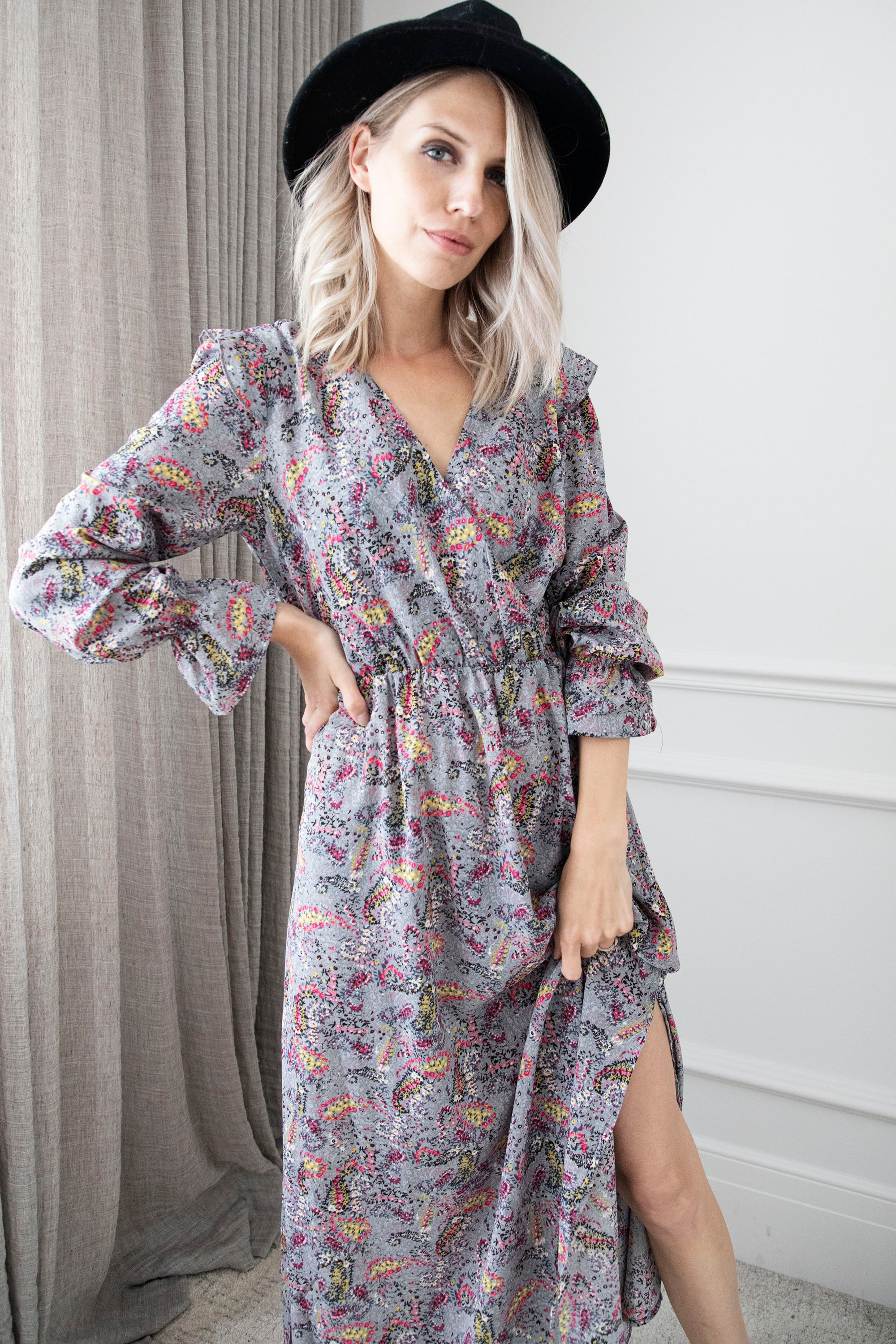 Happy Paisley Grey Mix - Maxi Jurk
