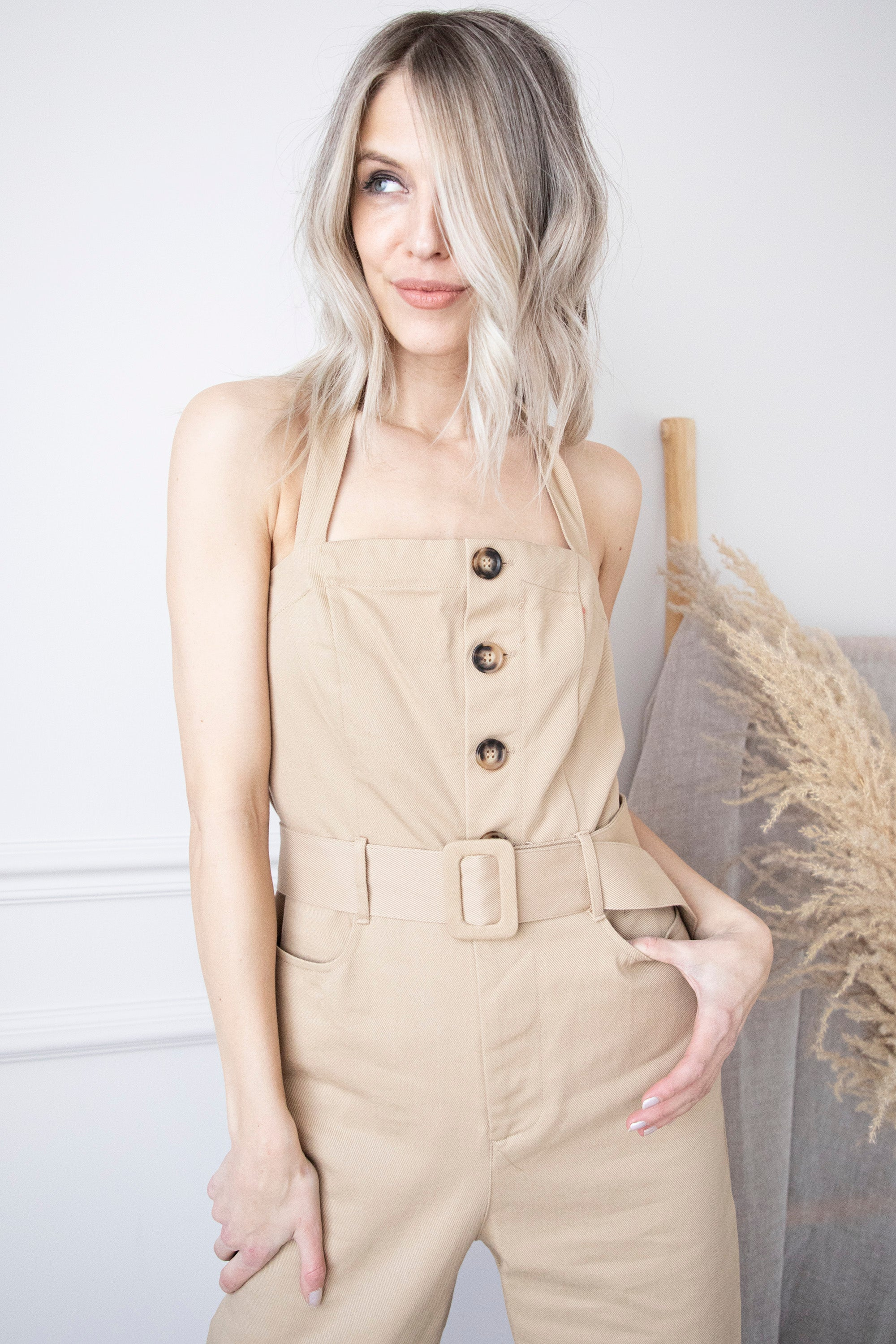 Fashionable Serena Camel - Jumpsuit