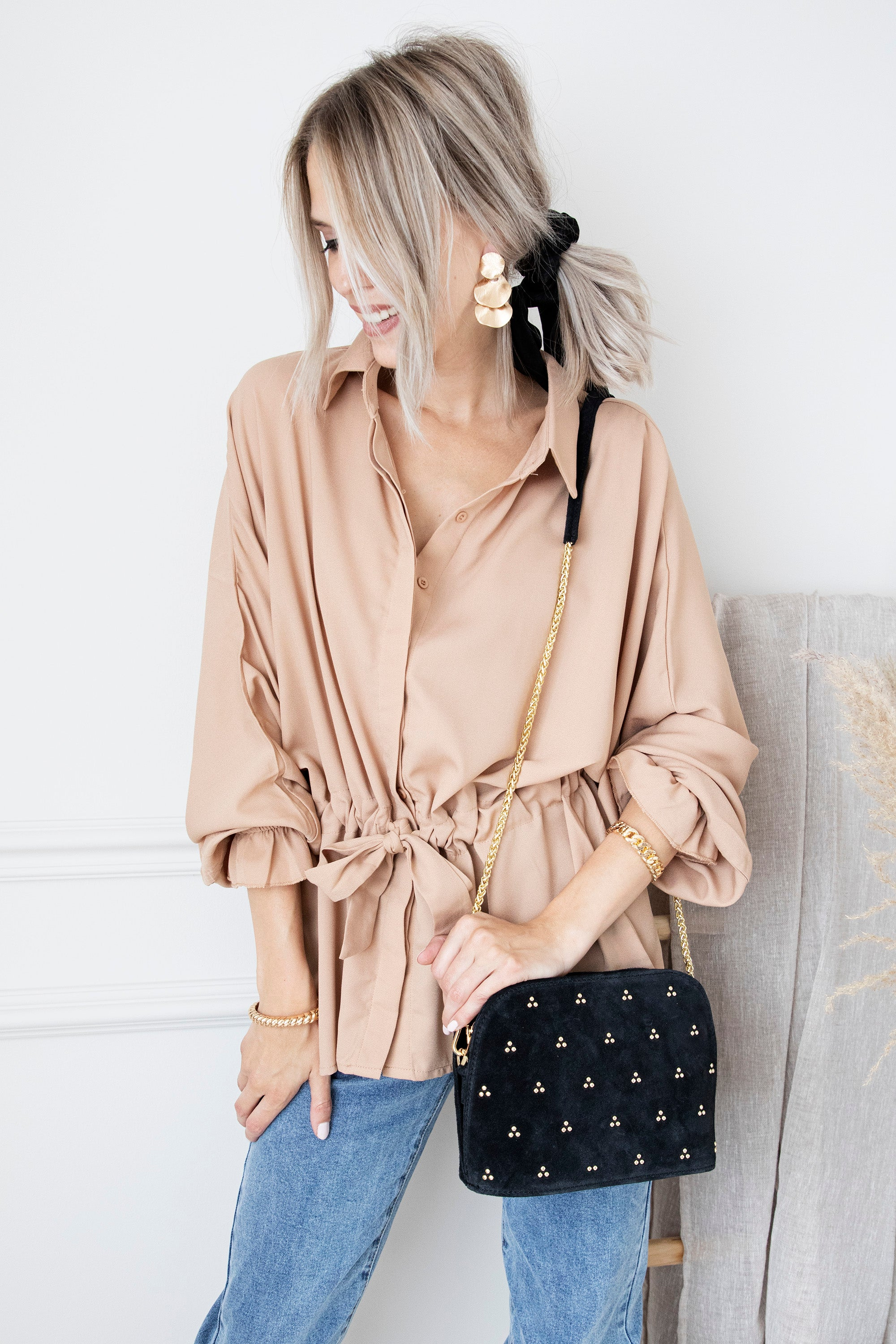 So Attractive Camel - Blouse
