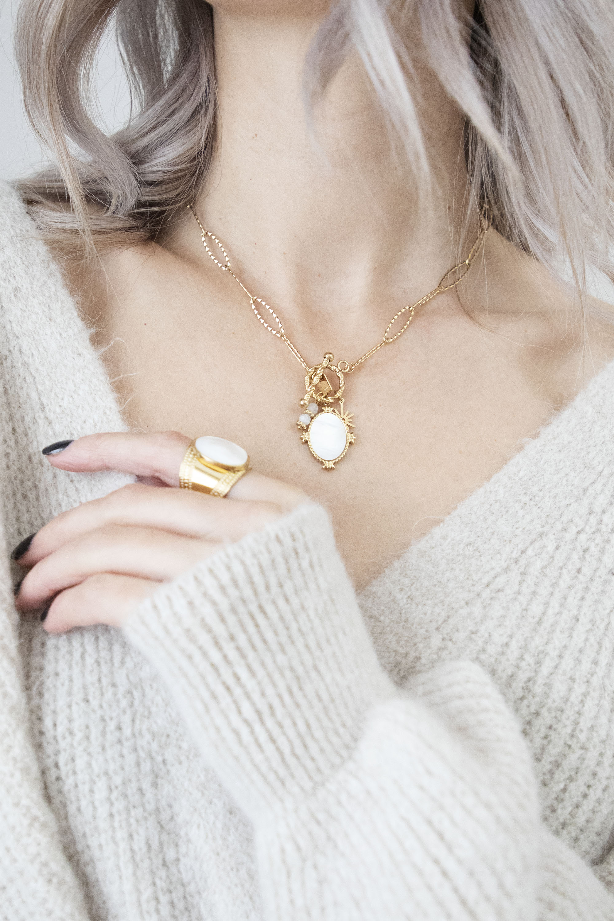 Mirror Check Pearly/Gold - Ketting