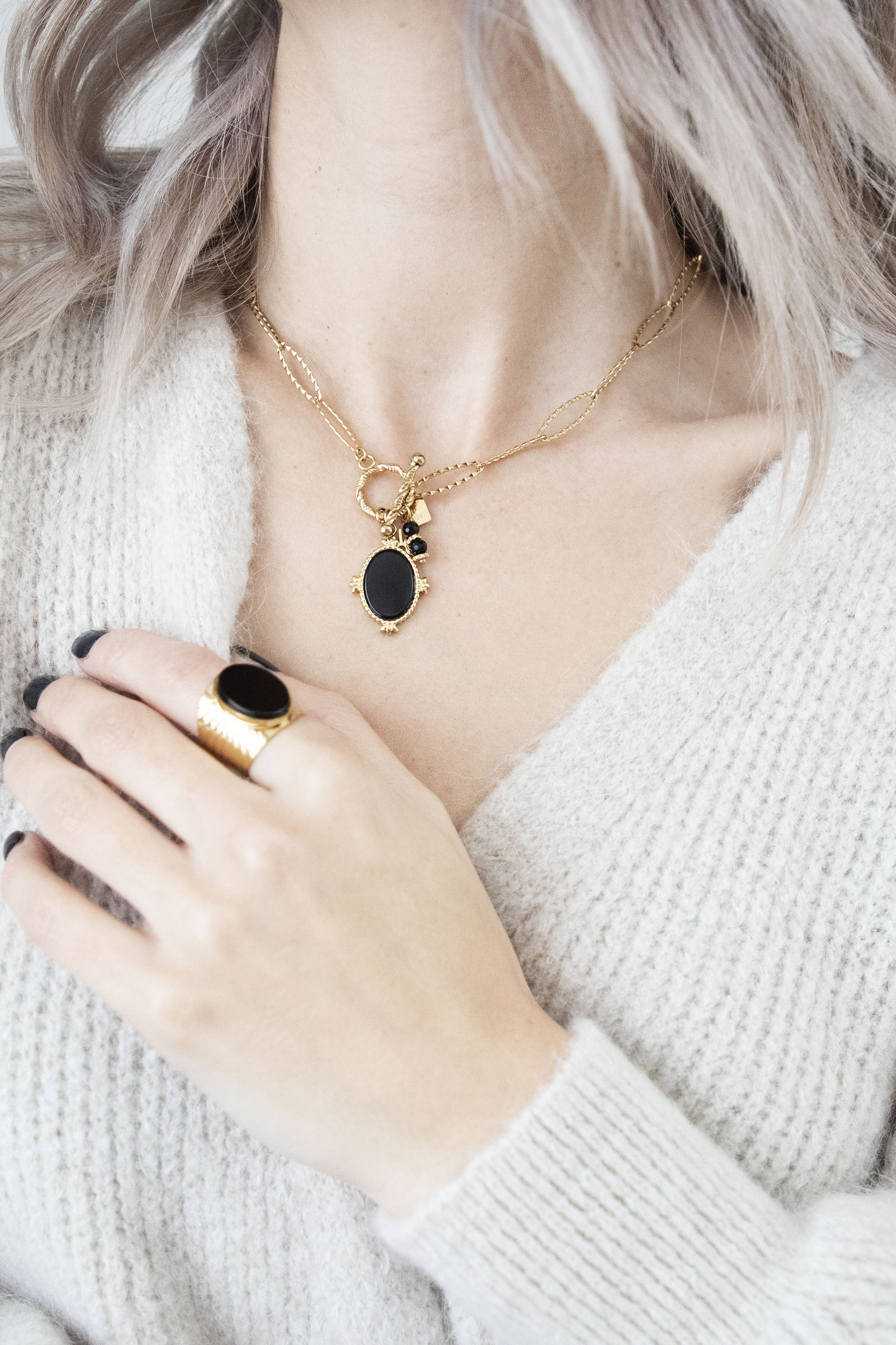Mirror Check Black/Gold - Ketting