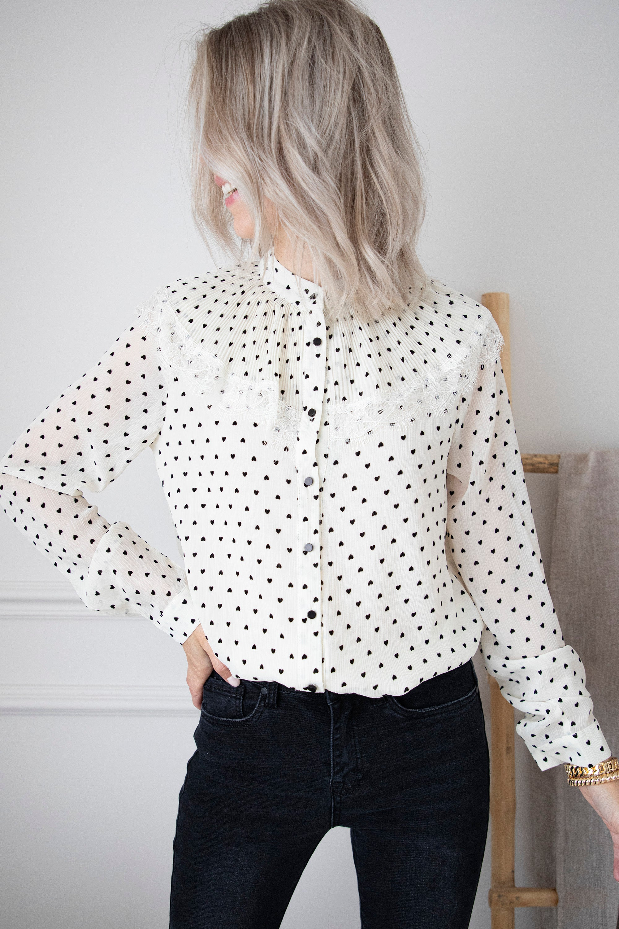 Sweet Little Hearts Cream - Blouse