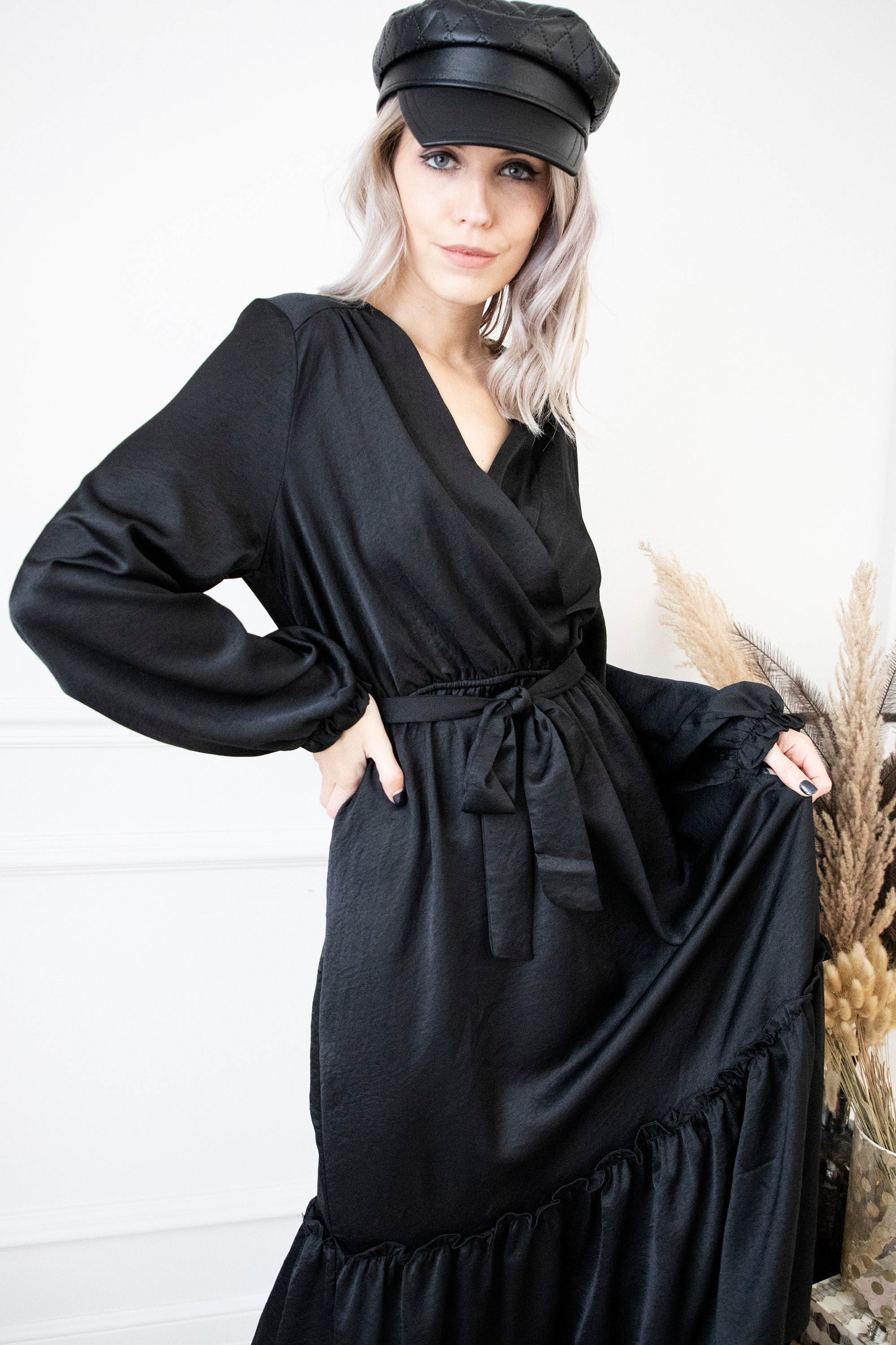 Satinelle Black - Maxi Jurk