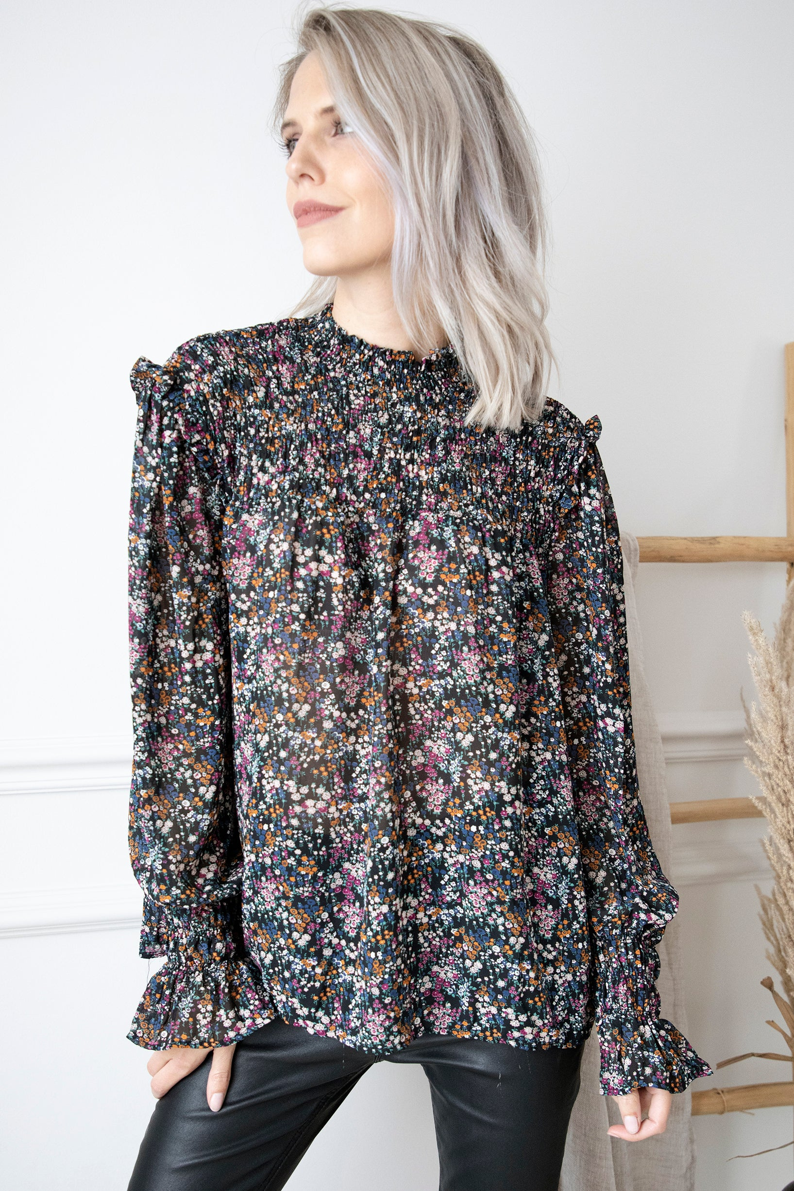 Just Got Flowers Black Mix - Blouse